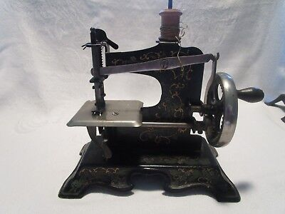 Antique /vintage Germany Metal Childs Sewing Machine (92933)-Flowers    #2