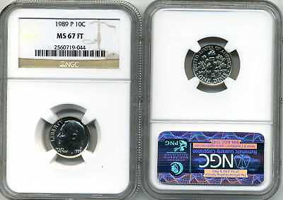1989-P Roosevelt Dime NGC MS 67 FT * Price Guide $175 Full Torch! - Rare *