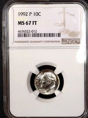 1992-P Roosevelt Dime NGC MS 67 FT * Price Guide $375 Full Torch! - Rare *