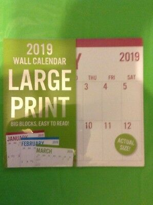 2019 Wall Calendar Large Print 11inch X 12inch 16-month Multi Color