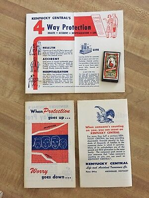 Vintage Kentucky Central Insurance Ad w/ Sewing Needle Pack 1940s Dix and Rands