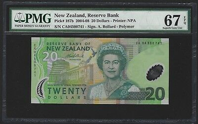 2004 New Zealand $20 Dollars Polymer, PMG 67 EPQ SUPERB GEM UNC, P-187b QEII