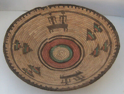 "African Coiled Basket 12"" across x 3"" high"