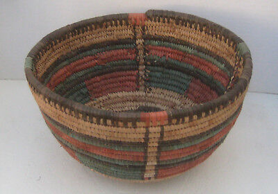 "African Coiled Basket 10"" across x 5-1/2"" high"