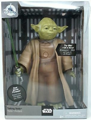DISNEY Store Exclusive Star Wars TALKING & MOVING YODA Figure ~ NEW in Package