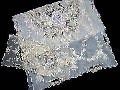 2 pc Antique French Silk Embroidered Tambour Lace Runner PARIS STORES LABEL