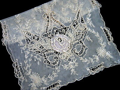 Exquisite Antique French Silk Embroidered Tambour Lace Runner PARIS STORES LABEL