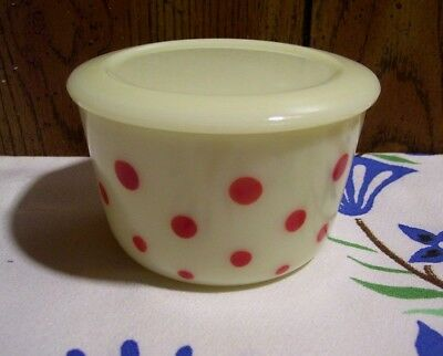 Vintage McKee Glass Red Dots On Custard Small Round Canister with Lid NICE