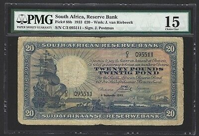 1933 South Africa 20 Pounds, Only 50,000 Printed Very Rare, P-88b PMG 15 Fine