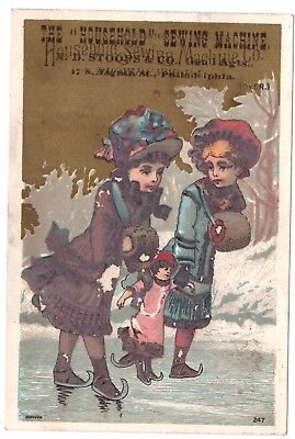 Household Sewing Machine N D Stoops & Co VTC Victorian Trade Card Philadelphia h