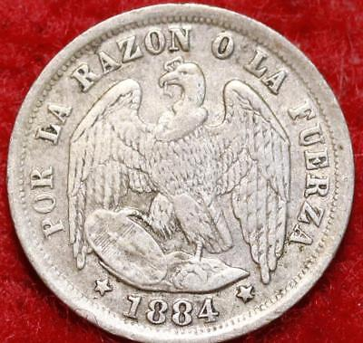 1884 Chile 5 Cents Silver Foreign Coin