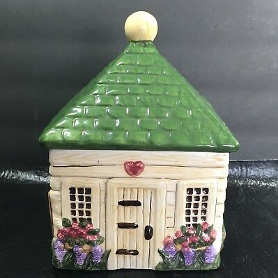 BLOCK Country Village Cottage House Gear 1995 RARE Canister Vintage Ceramic