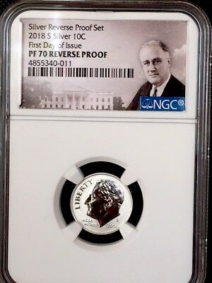 2018-S First Day Of Issue Roosevelt Dime NGC PF 70 REVERSE PROOF * Silver! *