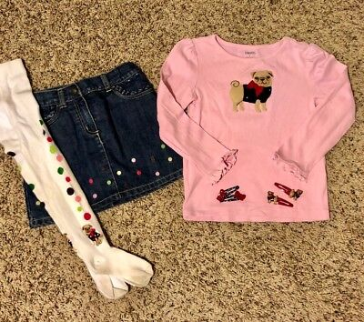 GUCGymboree Outfit from Pups & Kisses, Skirt, Shirt, Tights, Barrettes, Size 4
