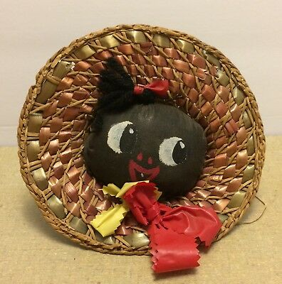 Vintage Black Americana Straw Hat w/Face Pin Cushion Hanging Ornament Cat-n-Hat