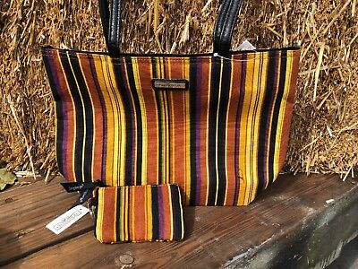 Longaberger® Double Handled Fabric Tote & Coin Purse~ Autumn Stripe NWT