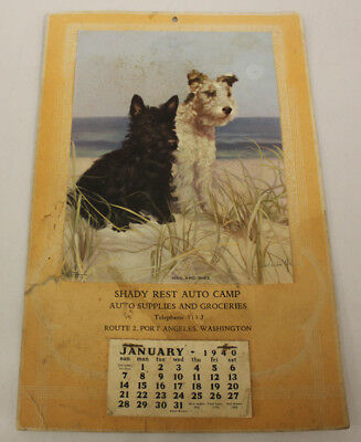 Port Angeles Wash. 1940 Scotty Dog Calendar, Shady Rest Auto Camp