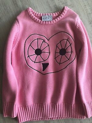 Minti Girls Heart Owl Knitted Jumper Sz 7