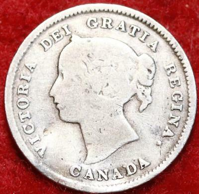 1893 Canada 5 Cents Silver Foreign Coin