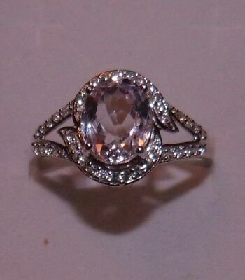 4.20 Ctw Top Quality Rich Genuine  Kunzite & White Zircon  Ring Size 11 Sterling