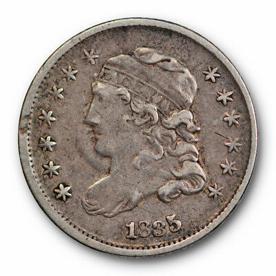 1835 Half Dime Capped Bust Extra Fine XF Sharp Small Date , Small 5c #6651