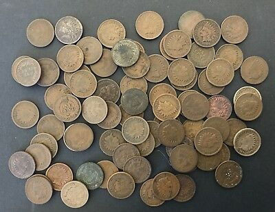 80 Indian Head Cents - Various Dates