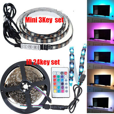 5V 5050 60SMD/M RGB USB LED Strip Light Bar TV Back Lighting Remote Control DIY