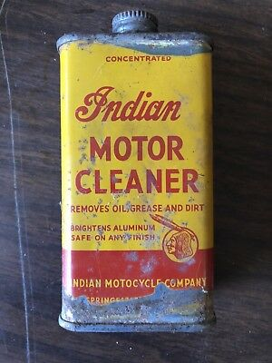 Vintage Indian Motorcycle Company Motor Cleaner Can Antique Oil Display Chief