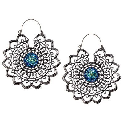 Mandala Sun with Blue Druzy Stone Plug Hoops Pair