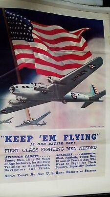 """WWII Army Air Corp Poster """"keep em flying""""28in x 40in one sheet. Printed in 1942"""