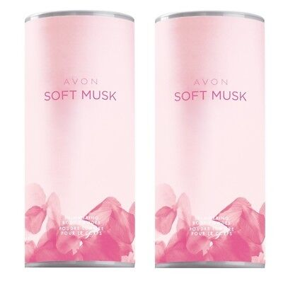 set of 2 talcs SOFT MUSK Avon - Talc powder scented wooded, floral, butternut