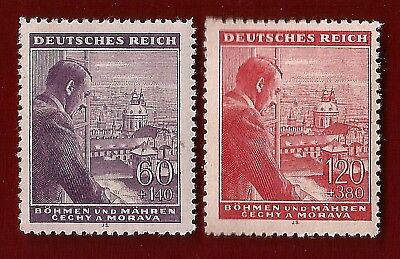 WW2 Nazi Third 3rd Reich Germany Adolf Hitler B+M stamp pair SET  MNH