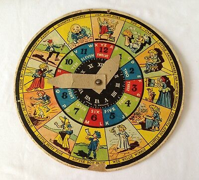 VINTAGE CHILD'S LEARNING THE TIME WHEEL C.1940/50's.