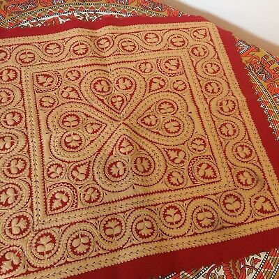 Small Vintage Embroidered Tablecloth Felt Red Moroccan Indian Boho Homeware