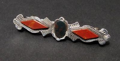 Antique Victorian Scottish Agate Pebble Set Sterling Silver Bar Brooch Pin
