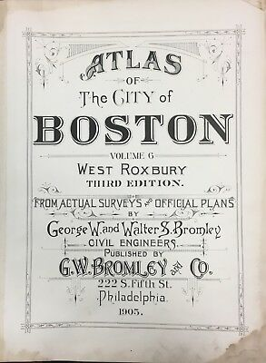 1905 West Roxbury Boston Ma Gw Bromley Title Page Third Edition Atlas Map