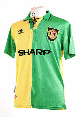 Manchester United Newton Heath 1993-94 Green & Yellow Football Shirt Small S