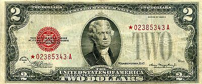 Series 1928 D $2.00 Star Mule Red Seal United States Note *02385343A  Fine