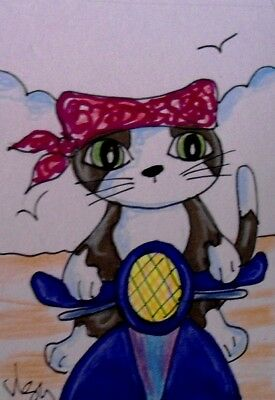 "Aceo  Original  ATC  "" SCOOTER KITTY  ""    pencil / ink"