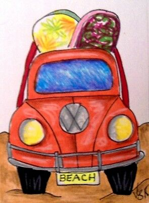 "Aceo  Original  ATC  "" BEACH BUGGY      ""    pencil / ink"