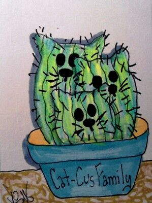 "Aceo  Original  ATC  ""  CAT-CUS FAMILY   ""    pencil / ink"
