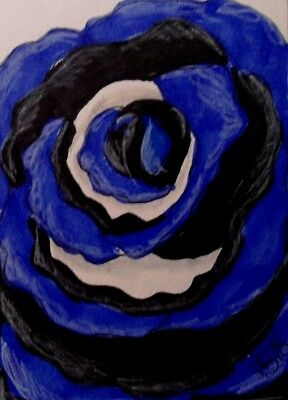 "Aceo  Original  ATC  ""  BLUE LINE ROSE   ""    pencil / ink"