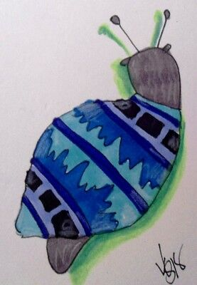 "Aceo  Original  ATC  "" BLUE SNAIL ""    pencil / ink"