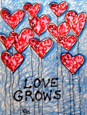 "Aceo  Original  ATC  "" GROWS  ""    pencil / ink"