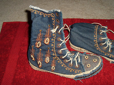 denim gypsy hightops - size 7 1/2 - embroidery all over - jute trim and laces