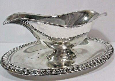 """Vintage Rogers Silver Plated 8.5"""" Double-Spouted Gravy Bowl with Drip Tray"""