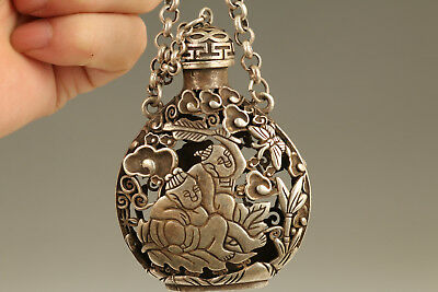 miao Silver chinese old Carved child favorite hollow Statue Snuff Bottle netsuke