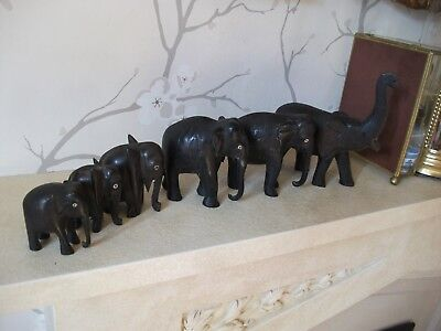 "Collection Of 6 Vintage/Antique Elephants, Hand Carved Ebony, 2.5 - 6"" HIGH"