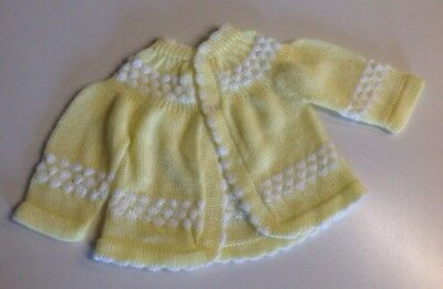 Handmade Vintage Baby Cardigan Sweater Yellow White Approx 0-6M Crochet Knit VGC