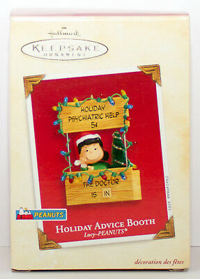 2003 Lucy HOLIDAY ADVICE BOOTH NEW Hallmark Peanuts Ornament PSYCHIATRIC HELP